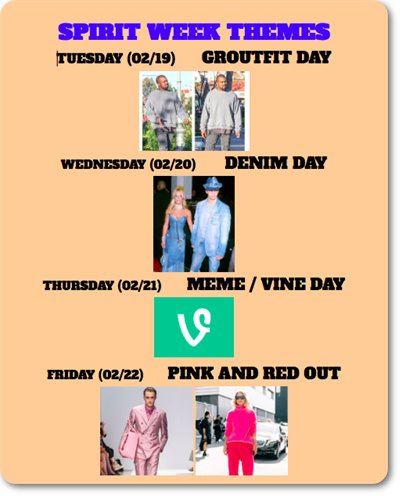 Spirit Week theme days