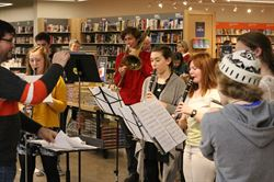 Barnes & Nobel students playing instruments